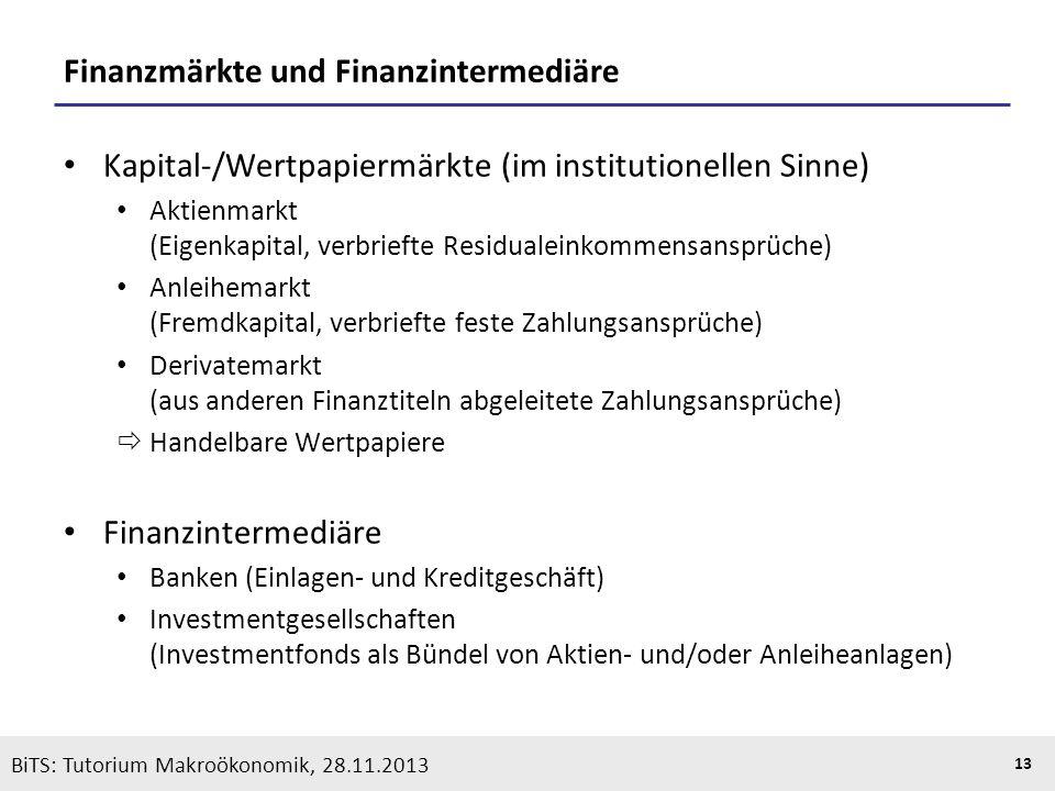 KOOTHS | BiTS: Makroökonomik WS 2013/2014, Fassung 1 13 BiTS: Tutorium Makroökonomik, 28.11.2013 Finanzmärkte und Finanzintermediäre Kapital-/Wertpapi