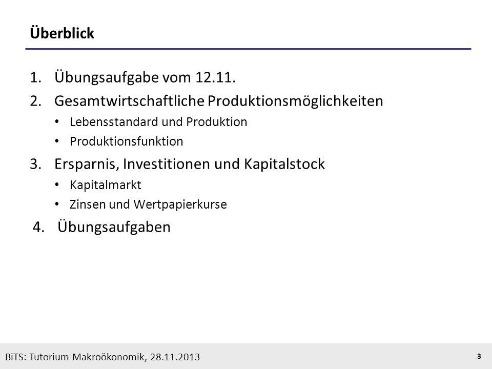 KOOTHS | BiTS: Makroökonomik WS 2013/2014, Fassung 1 3 BiTS: Tutorium Makroökonomik, 28.11.2013 Überblick 1.Übungsaufgabe vom 12.11. 2.Gesamtwirtschaf