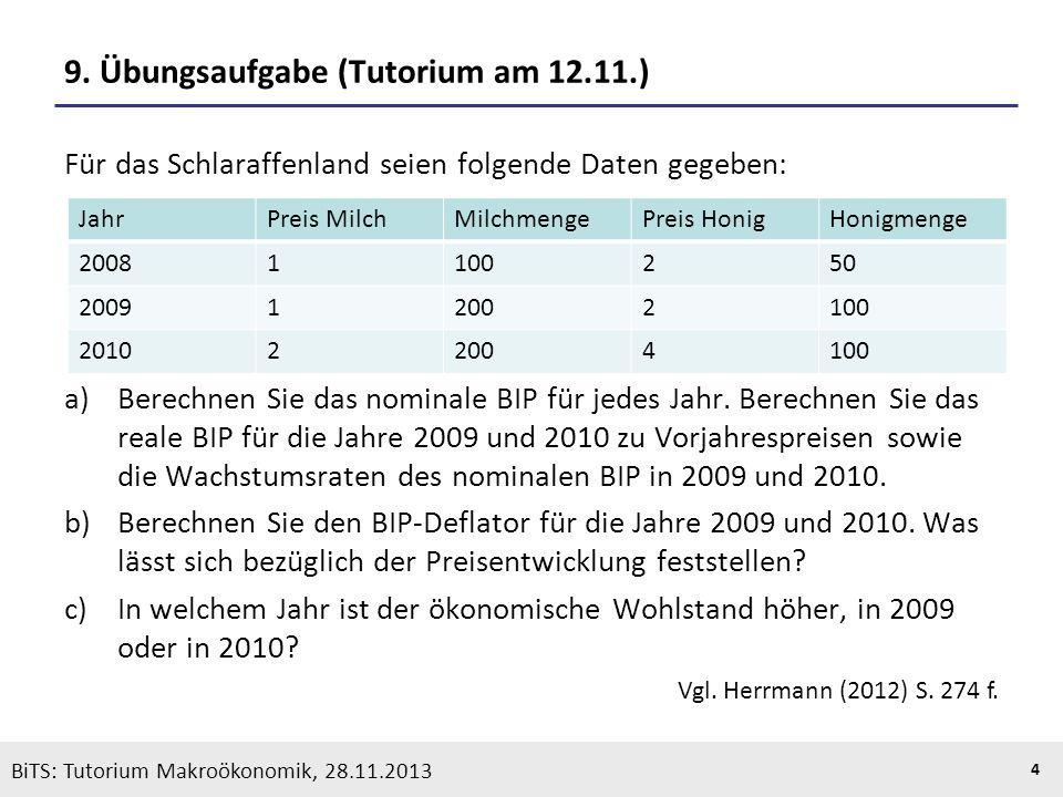 KOOTHS | BiTS: Makroökonomik WS 2013/2014, Fassung 1 4 BiTS: Tutorium Makroökonomik, 28.11.2013 9. Übungsaufgabe (Tutorium am 12.11.) Für das Schlaraf