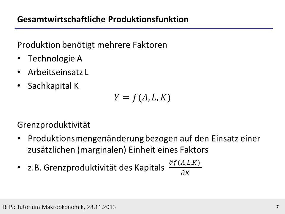 KOOTHS | BiTS: Makroökonomik WS 2013/2014, Fassung 1 7 BiTS: Tutorium Makroökonomik, 28.11.2013 Gesamtwirtschaftliche Produktionsfunktion