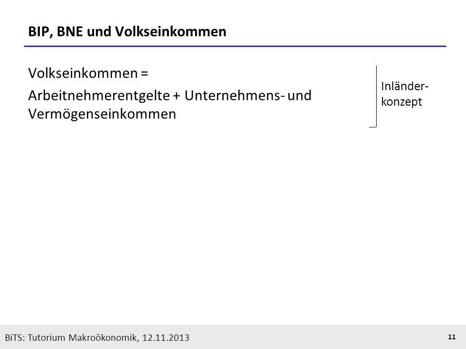 KOOTHS | BiTS: Makroökonomik WS 2013/2014, Fassung 1 11 BiTS: Tutorium Makroökonomik, 12.11.2013 BIP, BNE und Volkseinkommen Volkseinkommen = Arbeitne