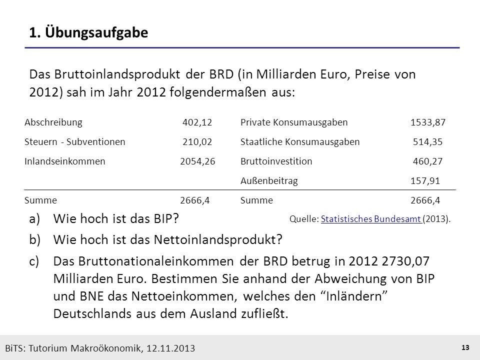 KOOTHS | BiTS: Makroökonomik WS 2013/2014, Fassung 1 13 BiTS: Tutorium Makroökonomik, 12.11.2013 1. Übungsaufgabe Das Bruttoinlandsprodukt der BRD (in