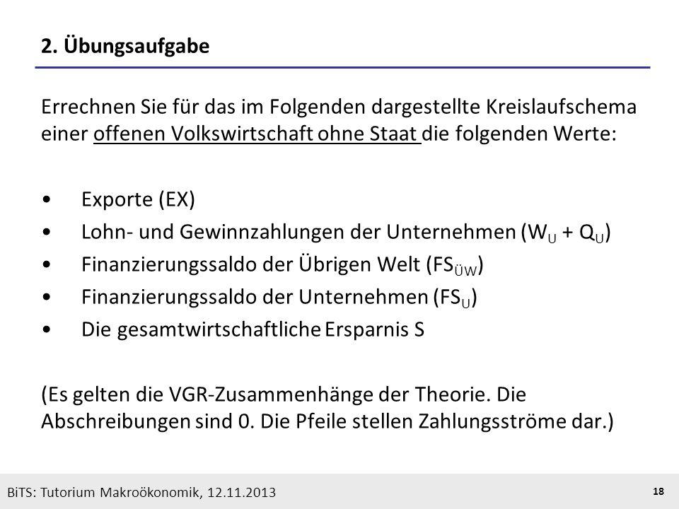 KOOTHS | BiTS: Makroökonomik WS 2013/2014, Fassung 1 18 BiTS: Tutorium Makroökonomik, 12.11.2013 2. Übungsaufgabe Errechnen Sie für das im Folgenden d