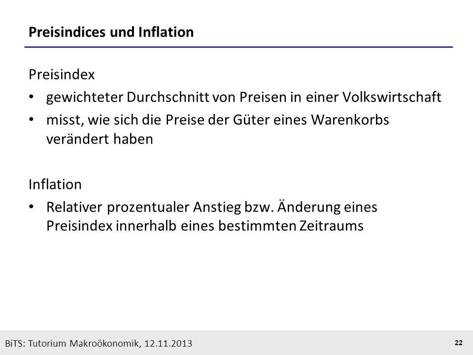 KOOTHS | BiTS: Makroökonomik WS 2013/2014, Fassung 1 22 BiTS: Tutorium Makroökonomik, 12.11.2013 Preisindices und Inflation Preisindex gewichteter Dur