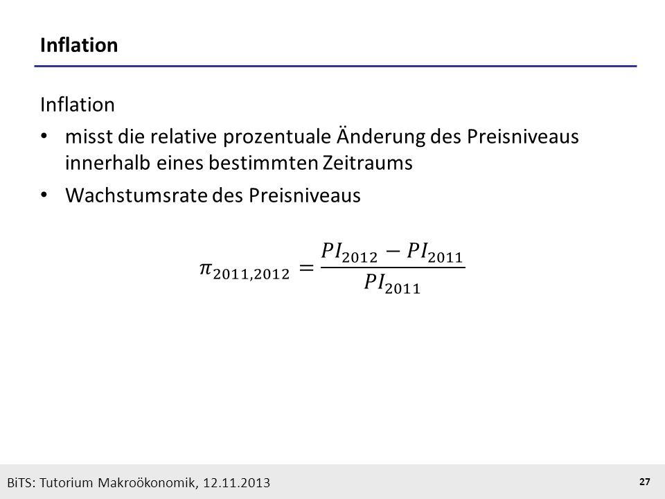 KOOTHS | BiTS: Makroökonomik WS 2013/2014, Fassung 1 27 BiTS: Tutorium Makroökonomik, 12.11.2013 Inflation