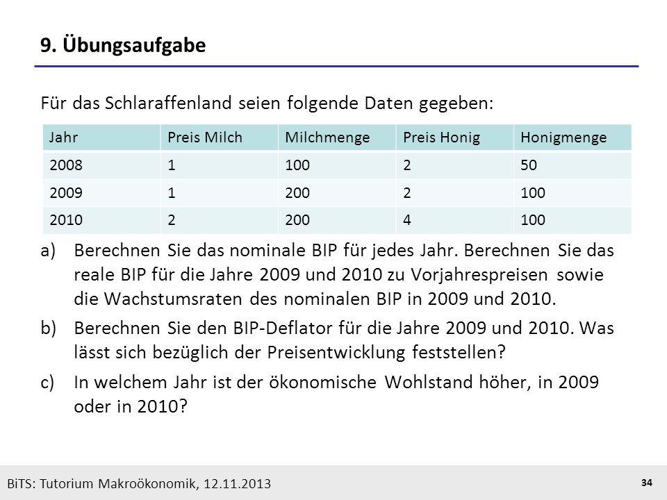 KOOTHS | BiTS: Makroökonomik WS 2013/2014, Fassung 1 34 BiTS: Tutorium Makroökonomik, 12.11.2013 9. Übungsaufgabe Für das Schlaraffenland seien folgen
