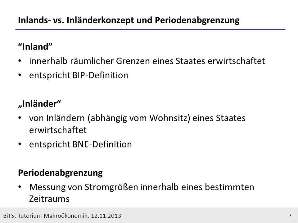 KOOTHS | BiTS: Makroökonomik WS 2013/2014, Fassung 1 7 BiTS: Tutorium Makroökonomik, 12.11.2013 Inlands- vs. Inländerkonzept und Periodenabgrenzung In