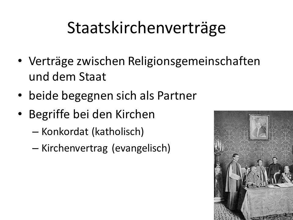 Staatskirchenverträge Verträge zwischen Religionsgemeinschaften und dem Staat beide begegnen sich als Partner Begriffe bei den Kirchen – Konkordat (ka