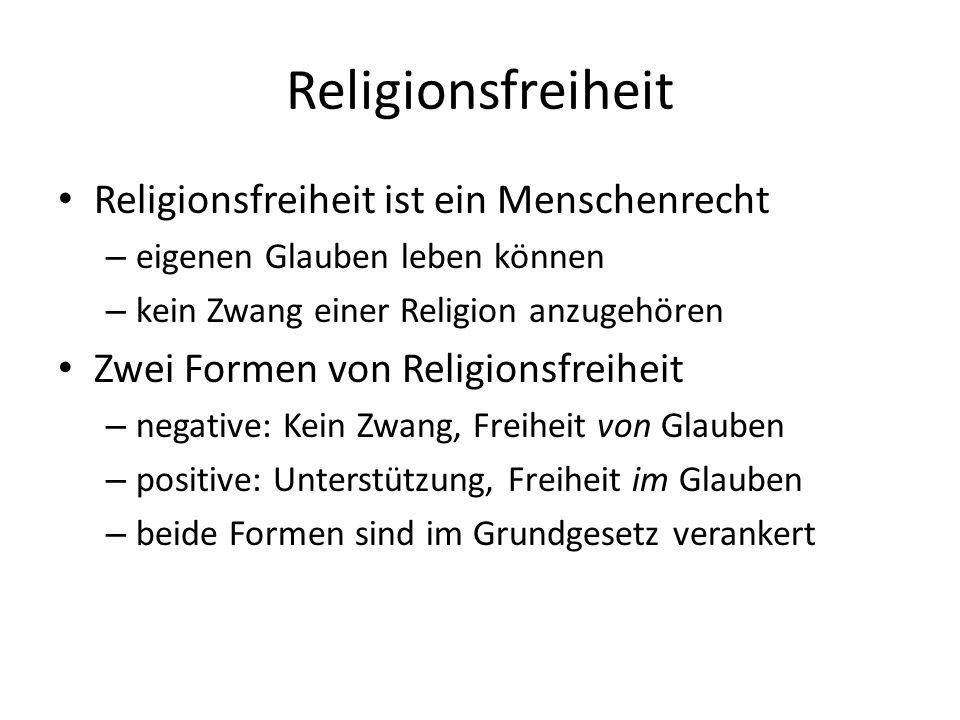 Religionsfreiheit Religionsfreiheit ist ein Menschenrecht – eigenen Glauben leben können – kein Zwang einer Religion anzugehören Zwei Formen von Relig