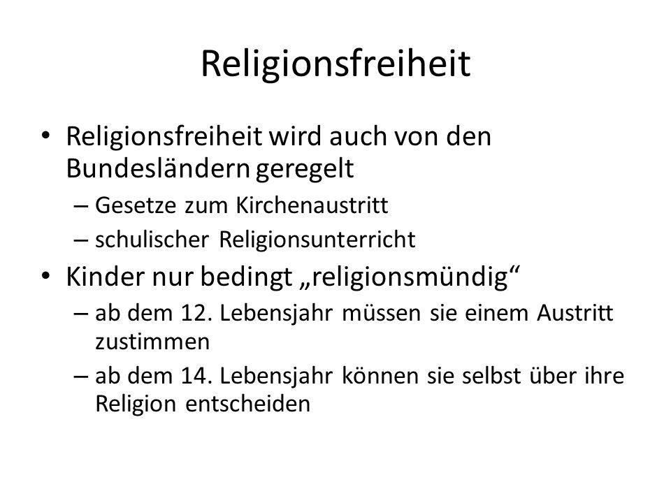 Religionsfreiheit Religionsfreiheit wird auch von den Bundesländern geregelt – Gesetze zum Kirchenaustritt – schulischer Religionsunterricht Kinder nu