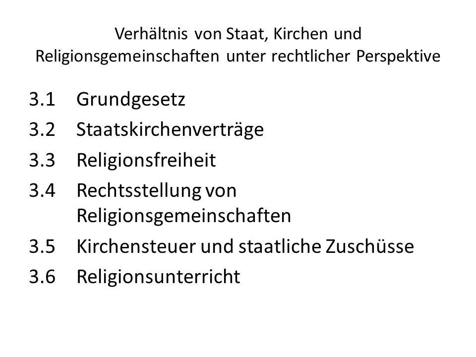 3.1Grundgesetz 3.2Staatskirchenverträge 3.3Religionsfreiheit 3.4Rechtsstellung von Religionsgemeinschaften 3.5Kirchensteuer und staatliche Zuschüsse 3
