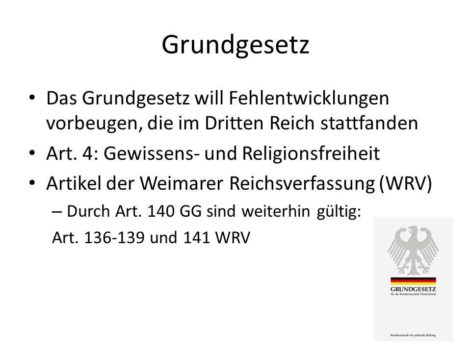Grundgesetz Das Grundgesetz will Fehlentwicklungen vorbeugen, die im Dritten Reich stattfanden Art. 4: Gewissens- und Religionsfreiheit Artikel der We