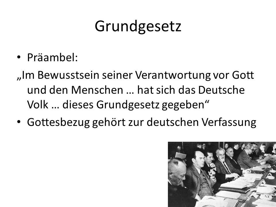 Grundgesetz Präambel: Im Bewusstsein seiner Verantwortung vor Gott und den Menschen … hat sich das Deutsche Volk … dieses Grundgesetz gegeben Gottesbe