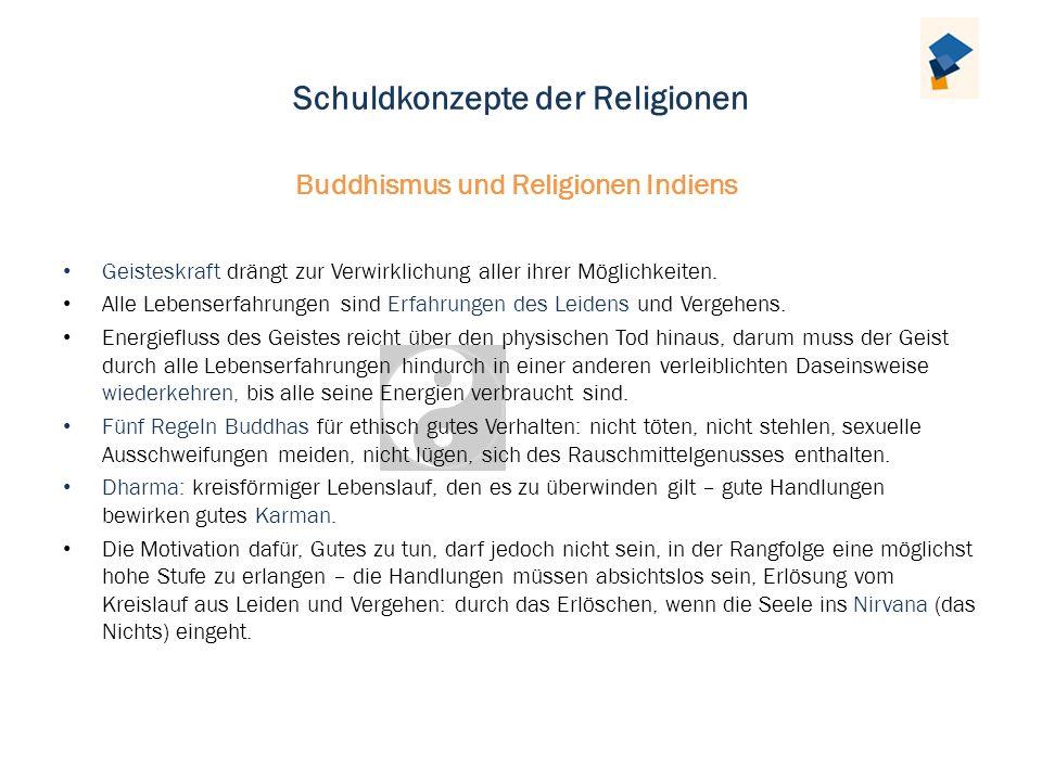 Schuldkonzepte der Religionen Geisteskraft drängt zur Verwirklichung aller ihrer Möglichkeiten. Alle Lebenserfahrungen sind Erfahrungen des Leidens un