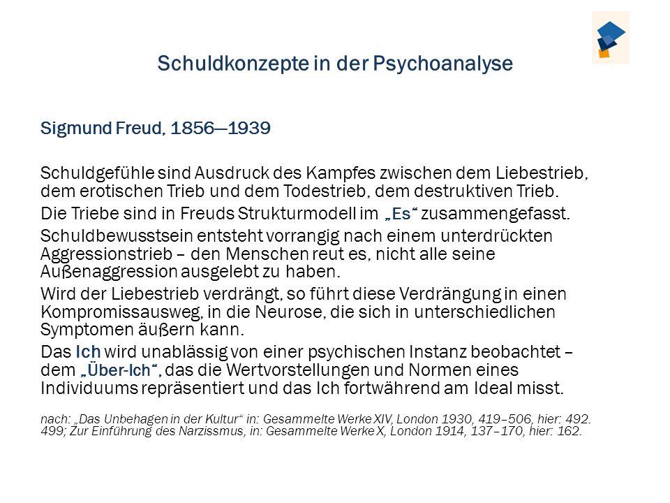 Schuldkonzepte in der Psychoanalyse Sigmund Freud, 18561939 Schuldgefühle sind Ausdruck des Kampfes zwischen dem Liebestrieb, dem erotischen Trieb und