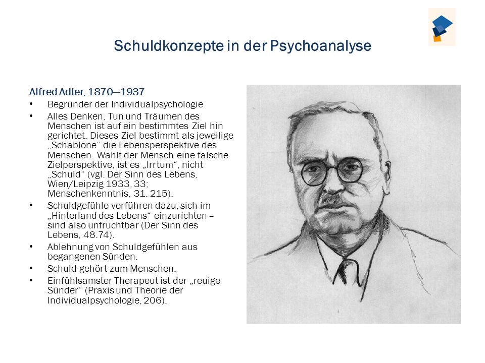 Schuldkonzepte in der Psychoanalyse Alfred Adler, 18701937 Begründer der Individualpsychologie Alles Denken, Tun und Träumen des Menschen ist auf ein