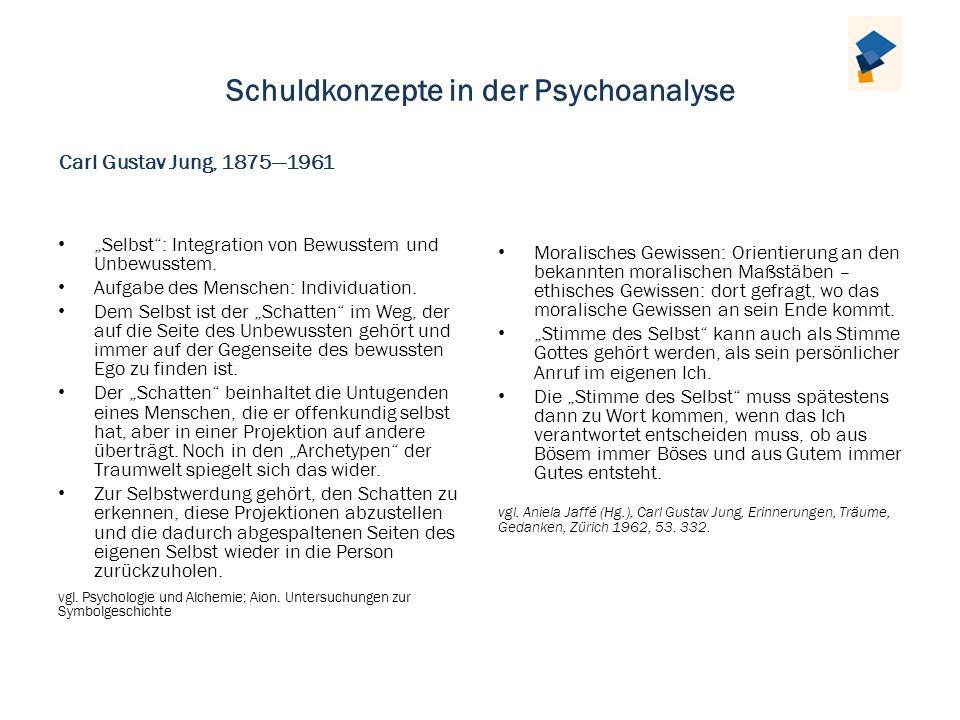 Schuldkonzepte in der Psychoanalyse Selbst: Integration von Bewusstem und Unbewusstem. Aufgabe des Menschen: Individuation. Dem Selbst ist der Schatte