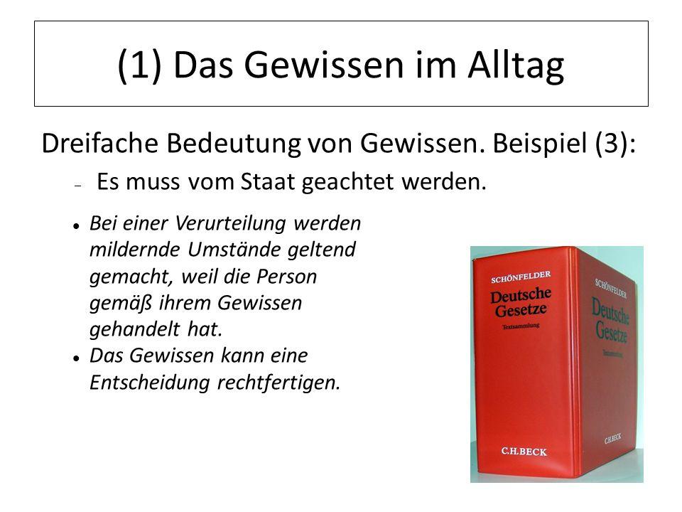 12.07.11 (1) Das Gewissen im Alltag Dreifache Bedeutung von Gewissen. Beispiel (3): – Es muss vom Staat geachtet werden. Bei einer Verurteilung werden