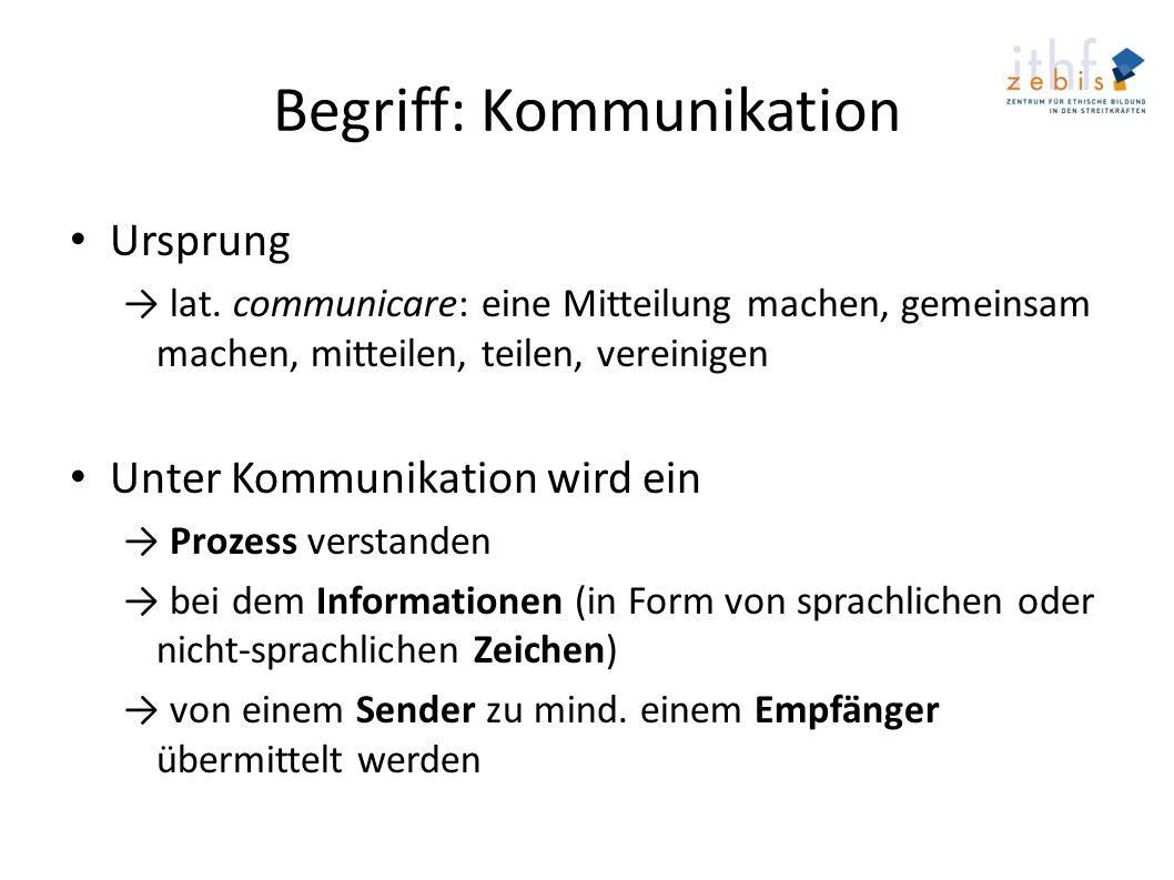Begriff: Kommunikation Ursprung lat. communicare: eine Mitteilung machen, gemeinsam machen, mitteilen, teilen, vereinigen Unter Kommunikation wird ein