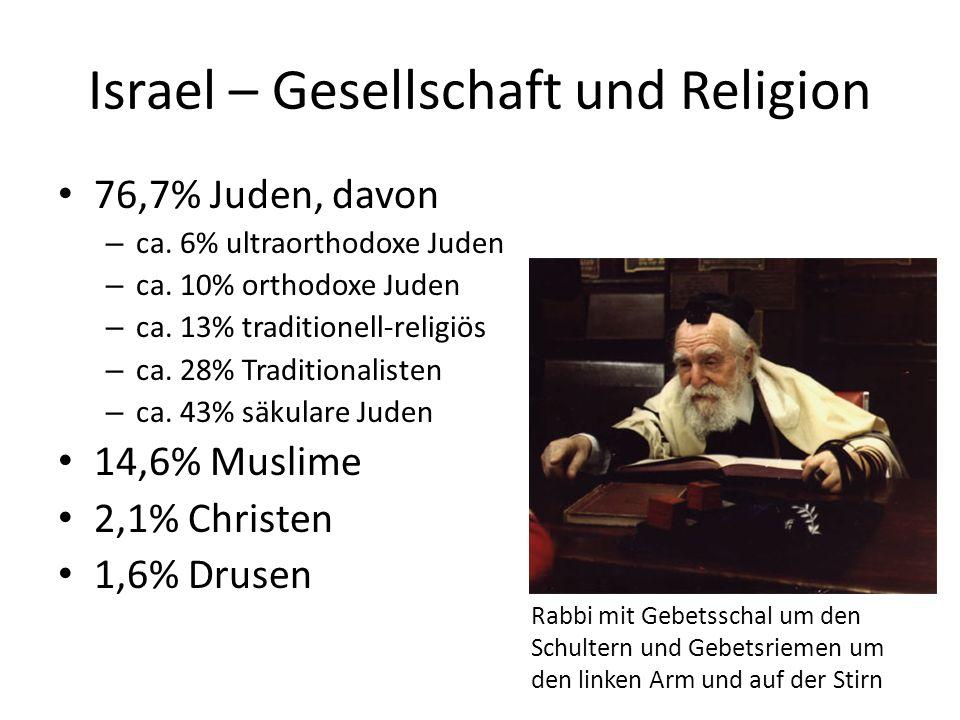 Israel – Gesellschaft und Religion 76,7% Juden, davon – ca. 6% ultraorthodoxe Juden – ca. 10% orthodoxe Juden – ca. 13% traditionell-religiös – ca. 28