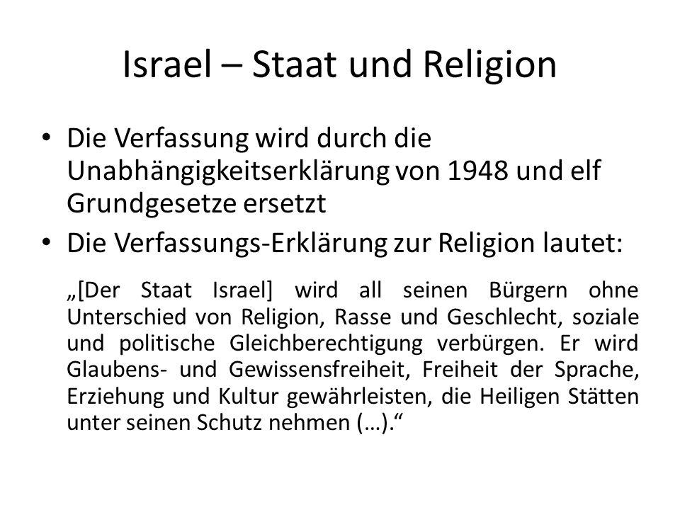Israel – Staat und Religion Alle anerkannten Glaubensgemeinschaften haben Anspruch auf staatliche Unterstützung Die Gehälter der religiösen Amtsträger werden vom Staat bezahlt.