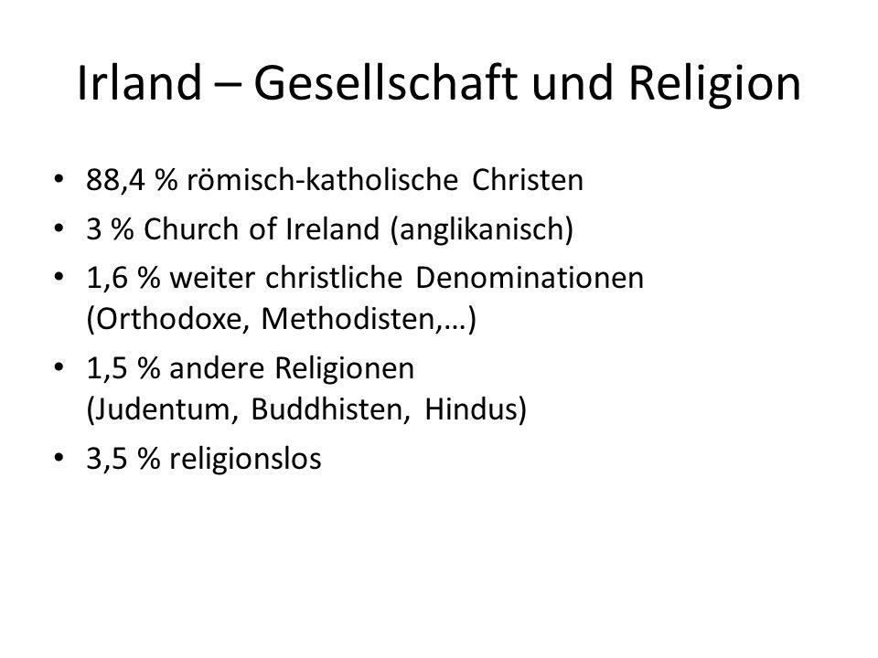 Irland – Gesellschaft und Religion 88,4 % römisch-katholische Christen 3 % Church of Ireland (anglikanisch) 1,6 % weiter christliche Denominationen (O