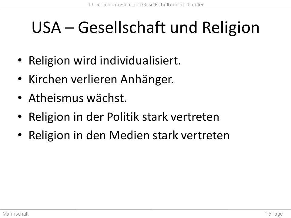 1.5 Religion in Staat und Gesellschaft anderer Länder Mannschaft1,5 Tage USA – Gesellschaft und Religion Religion wird individualisiert.