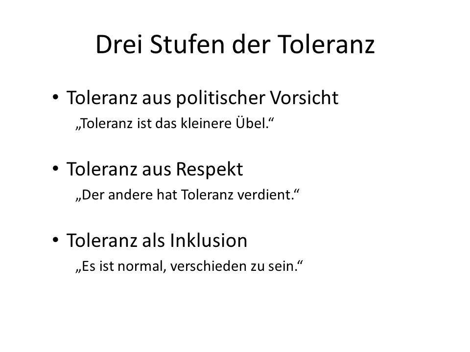 Drei Stufen der Toleranz Toleranz aus politischer Vorsicht Toleranz ist das kleinere Übel.