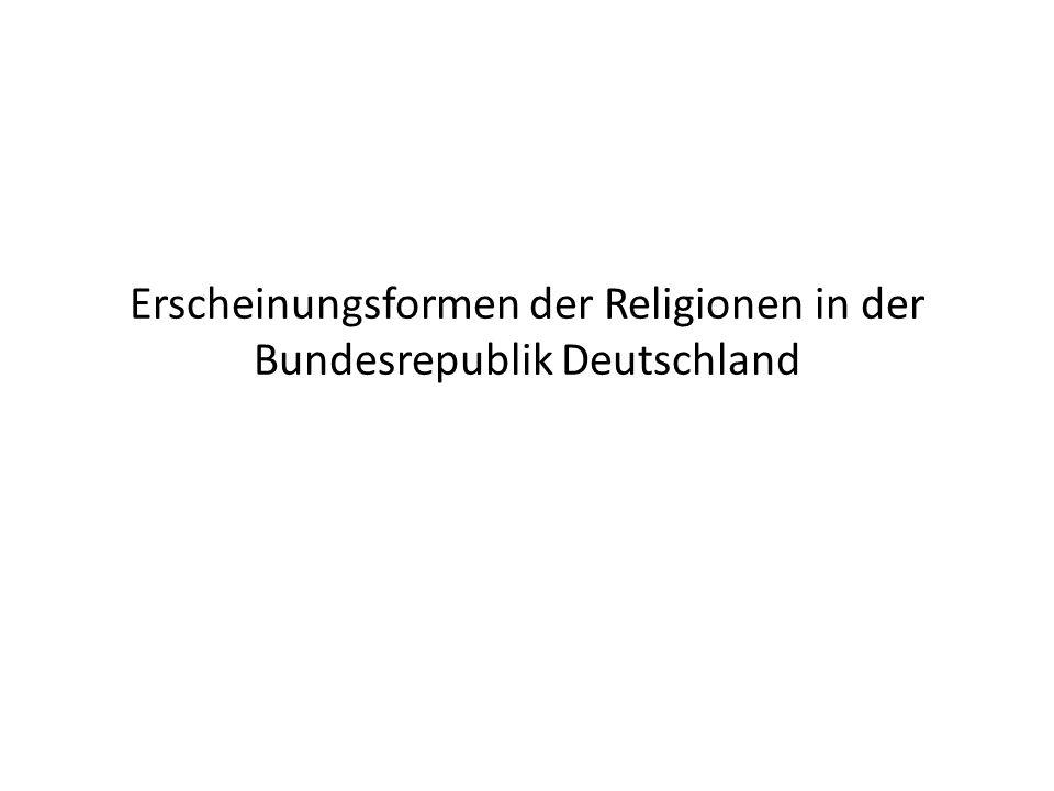 Religionen in der Gesellschaft Gleichsetzung des Islam mit fundamentalistischen Strömungen – Terrorismus – Ehrenmorde – Zwangsheirat 58% der Westdeutschen und 62% der Ostdeutschen haben eine tendenziell negative Haltung gegenüber Muslimen Gemäßigte Muslime werden hier kaum beachtet