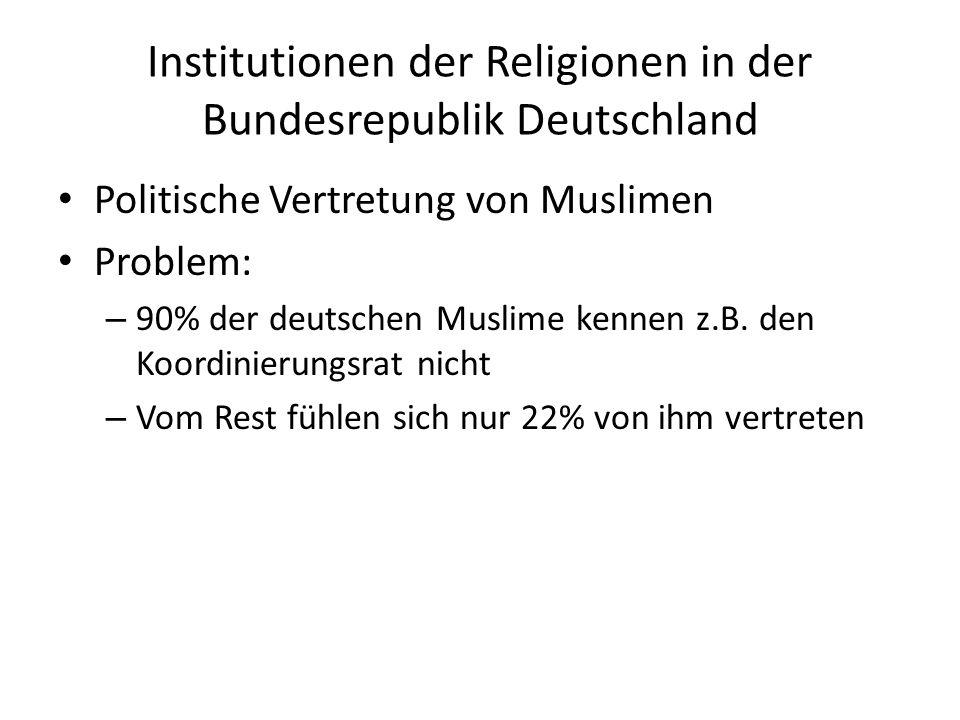 Institutionen der Religionen in der Bundesrepublik Deutschland Politische Vertretung von Muslimen Problem: – 90% der deutschen Muslime kennen z.B.