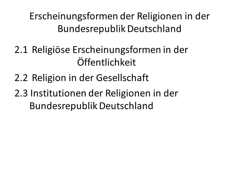 Religionen in der Gesellschaft Religionen wollen zum Teil in der Gesellschaft wirken – Verbesserung gesellschaftlicher Strukturen (Gerechtigkeit / Menschenwürde) – Sicherung der freien Religionsausübung – Schutz des eigenen Status Oder: Rückzug auf eine religiöse / kirchliche Binnenkultur