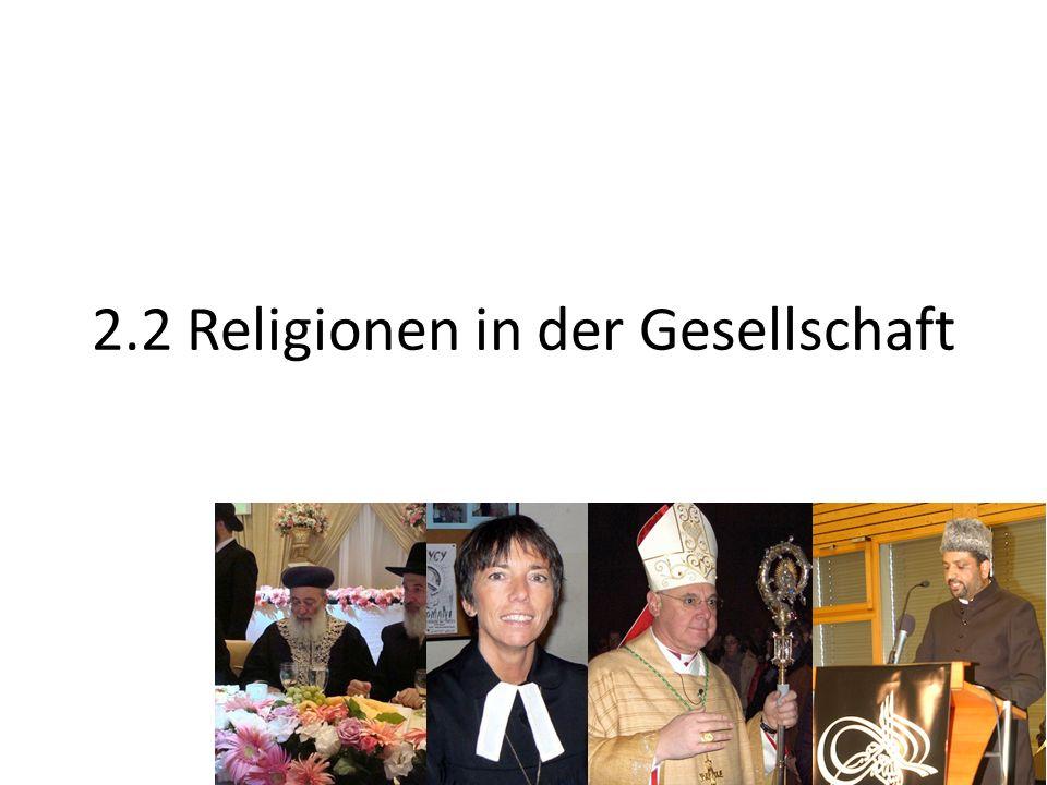 Religionen in der Gesellschaft Religiöse Vielfalt Auswirkung auf die Zivilgesellschaft – Frage der Toleranz – Frage der kulturellen / religiösen Identität
