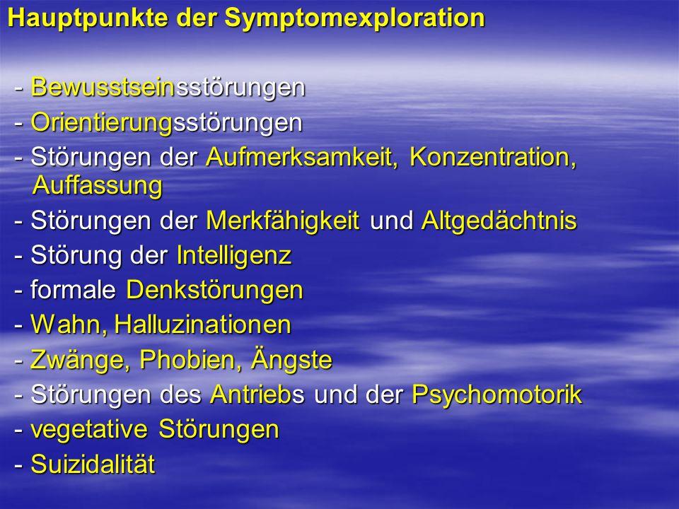 Hauptpunkte der Symptomexploration - Bewusstseinsstörungen - Bewusstseinsstörungen - Orientierungsstörungen - Orientierungsstörungen - Störungen der A