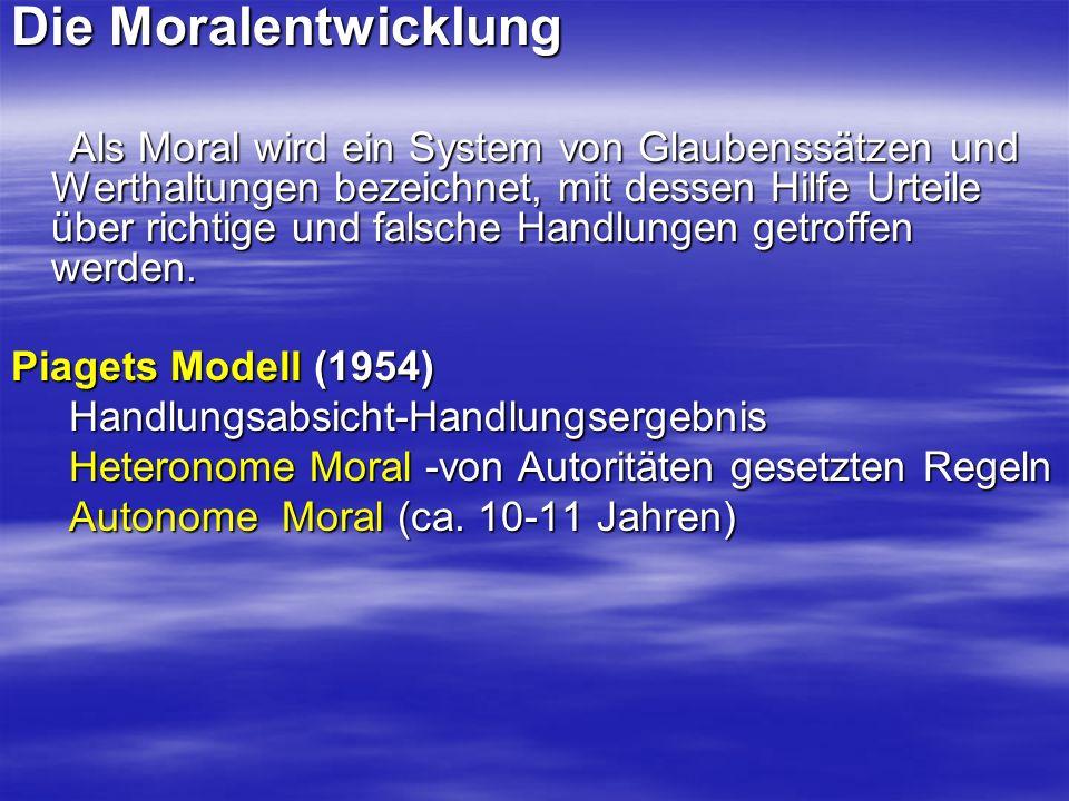 Die Moralentwicklung Als Moral wird ein System von Glaubenssätzen und Werthaltungen bezeichnet, mit dessen Hilfe Urteile über richtige und falsche Handlungen getroffen werden.