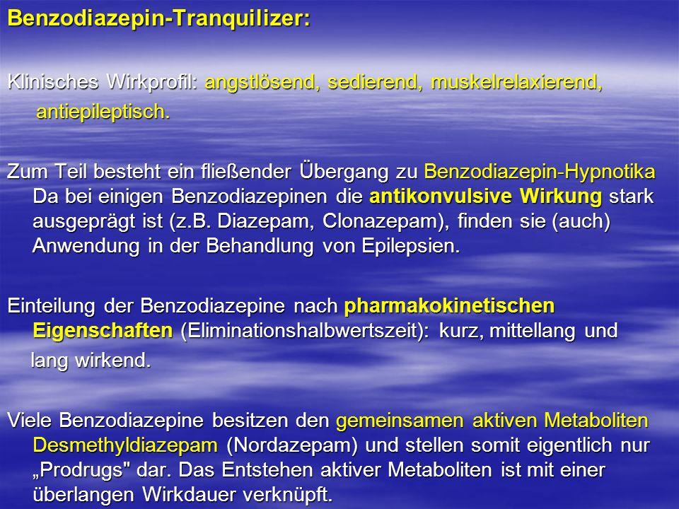 Benzodiazepin-Tranquilizer: Klinisches Wirkprofil: angstlösend, sedierend, muskelrelaxierend, antiepileptisch. antiepileptisch. Zum Teil besteht ein f