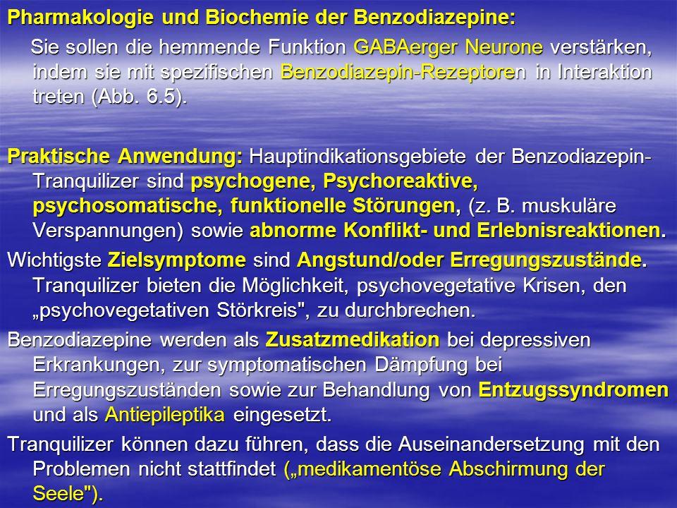 Pharmakologie und Biochemie der Benzodiazepine: Sie sollen die hemmende Funktion GABAerger Neurone verstärken, indem sie mit spezifischen Benzodiazepi