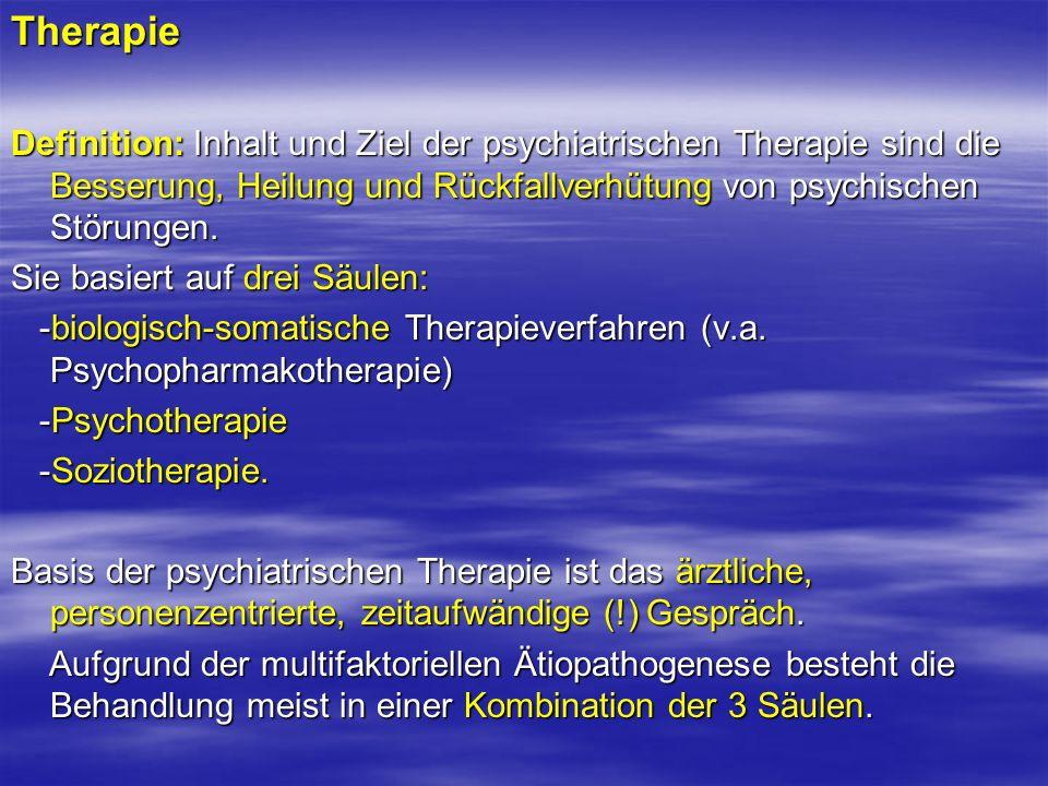 Kombinierte Psychopharmakotherapie Definition: Der Begriff kombinierte Psychopharmakotherapie beinhaltet die Kombination verschiedener Psychopharmaka untereinander sowie die Kombination von Psychopharmaka mit anderen Therapieverfahren.