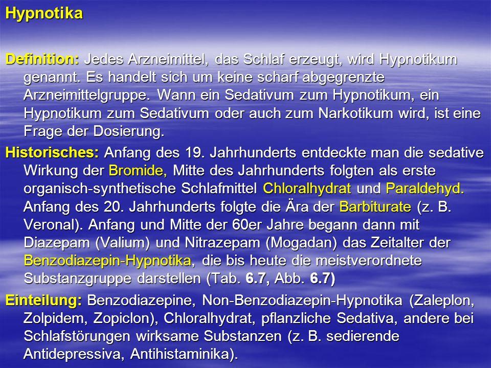 Hypnotika Definition: Jedes Arzneimittel, das Schlaf erzeugt, wird Hypnotikum genannt. Es handelt sich um keine scharf abgegrenzte Arzneimittelgruppe.