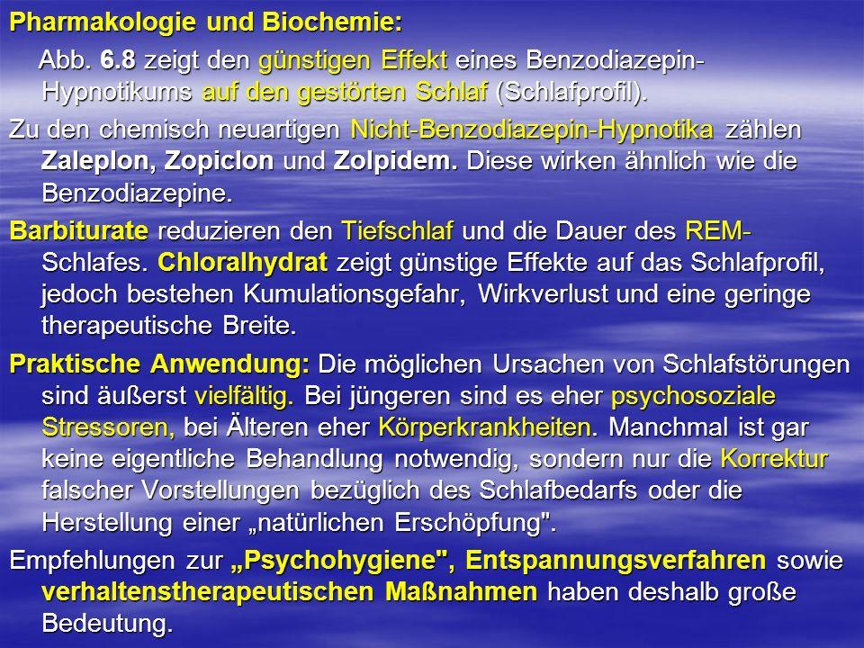 Pharmakologie und Biochemie: Abb. 6.8 zeigt den günstigen Effekt eines Benzodiazepin- Hypnotikums auf den gestörten Schlaf (Schlafprofil). Abb. 6.8 ze