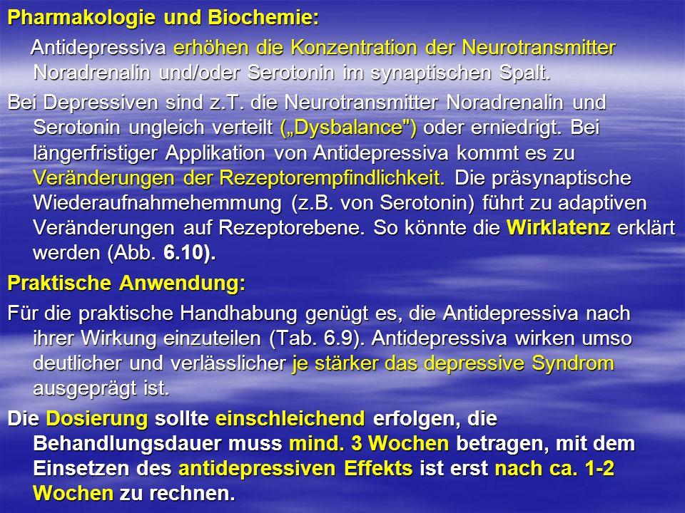 Pharmakologie und Biochemie: Antidepressiva erhöhen die Konzentration der Neurotransmitter Noradrenalin und/oder Serotonin im synaptischen Spalt. Anti