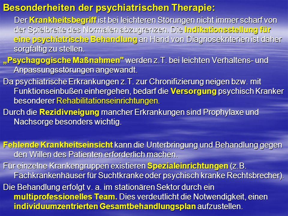 Besonderheiten der psychiatrischen Therapie: Der Krankheitsbegriff ist bei leichteren Störungen nicht immer scharf von der Spielbreite des Normalen ab
