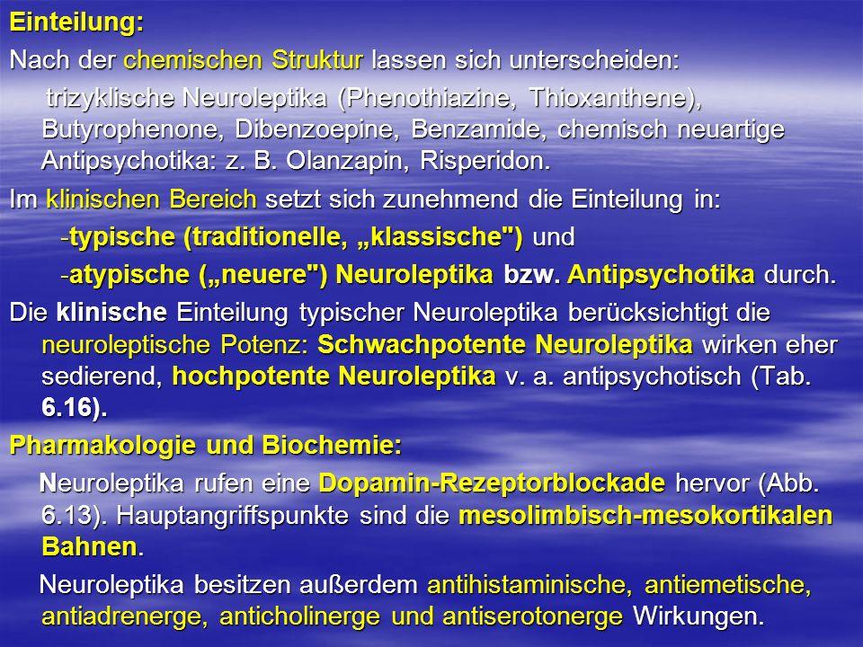Einteilung: Nach der chemischen Struktur lassen sich unterscheiden: trizyklische Neuroleptika (Phenothiazine, Thioxanthene), Butyrophenone, Dibenzoepi