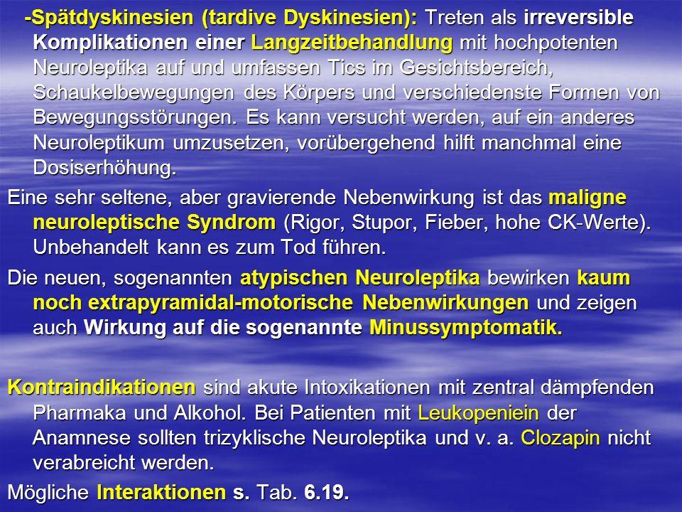-Spätdyskinesien (tardive Dyskinesien): Treten als irreversible Komplikationen einer Langzeitbehandlung mit hochpotenten Neuroleptika auf und umfassen