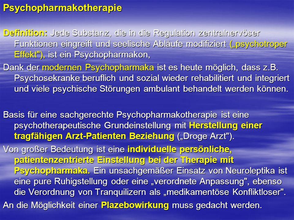 Einteilung Psychopharmaka können eingeteilt werden nach: -biochemischem Wirkmechanismus -biochemischem Wirkmechanismus -chemischer Struktur (hat sich nicht durchgesetzt) -chemischer Struktur (hat sich nicht durchgesetzt) Übliche Einteilung: Tranquilizer, Hypnotika, Antidepressiva, Phasenprophylaktika, Stimmungsstabilisierer, Neuroleptika/Antipsychotika, Antidementiva, sonstige Psychopharmaka.