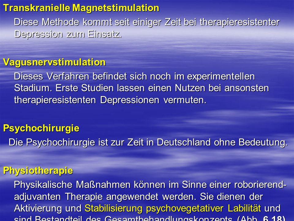 Transkranielle Magnetstimulation Diese Methode kommt seit einiger Zeit bei therapieresistenter Depression zum Einsatz. Diese Methode kommt seit einige