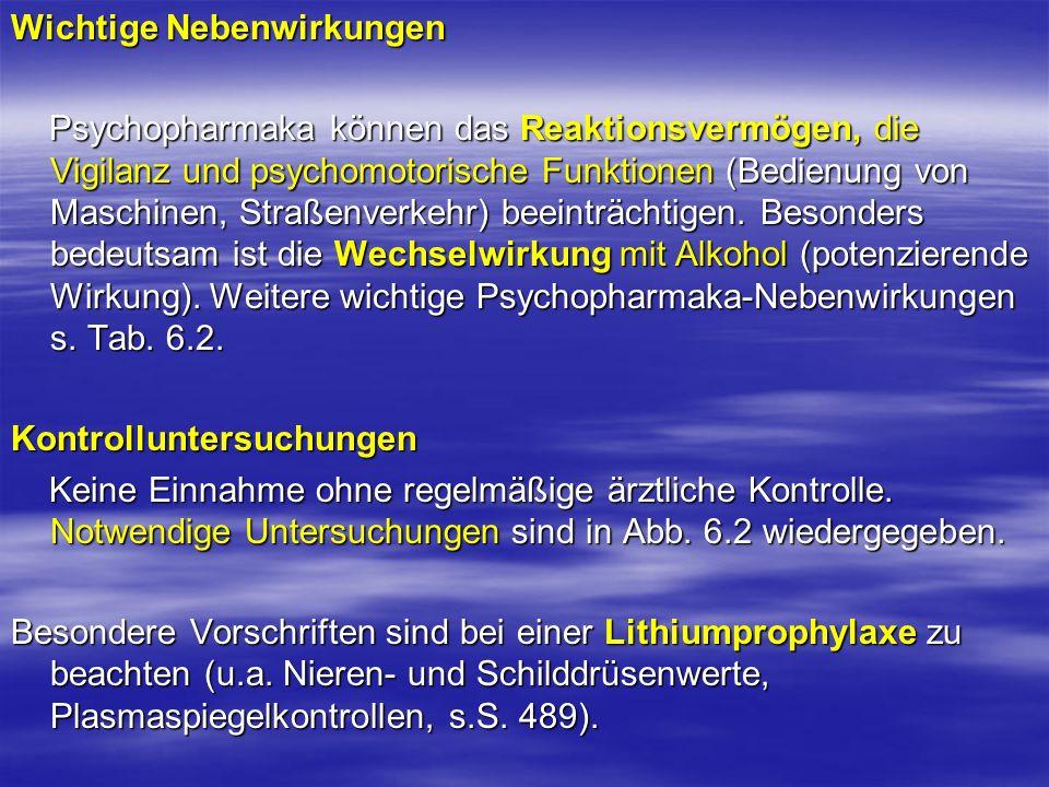 Wichtige Nebenwirkungen Psychopharmaka können das Reaktionsvermögen, die Vigilanz und psychomotorische Funktionen (Bedienung von Maschinen, Straßenver