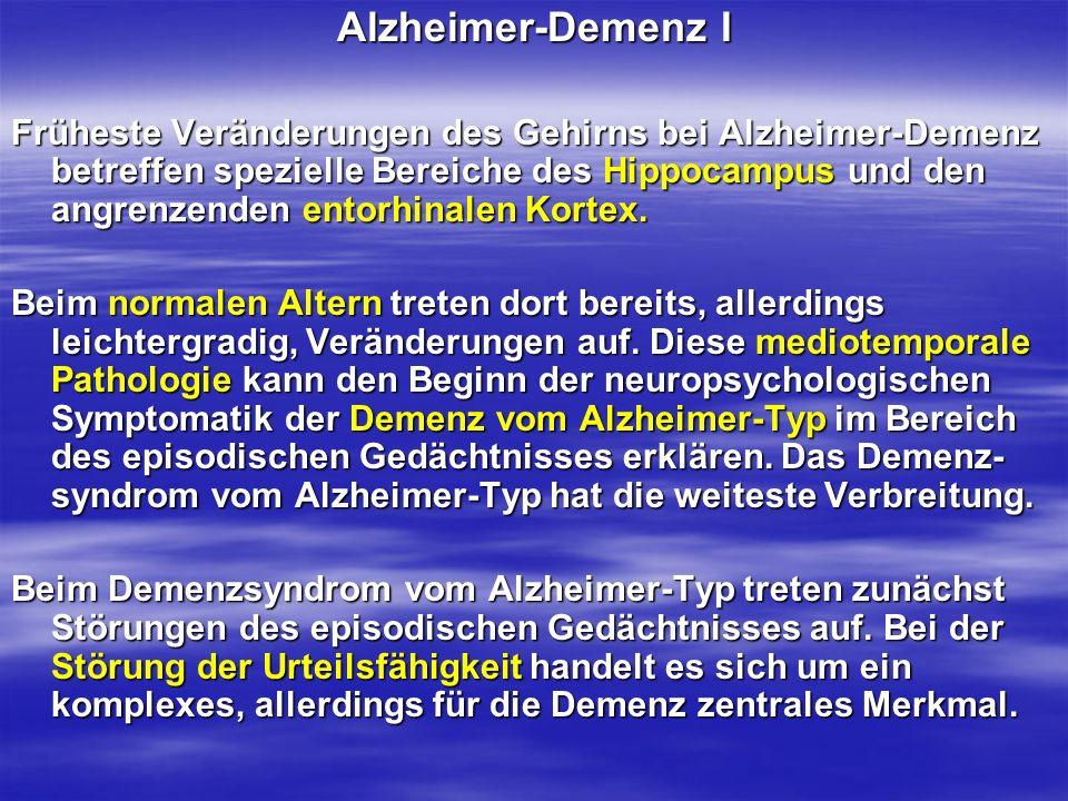Alzheimer-Demenz I Früheste Veränderungen des Gehirns bei Alzheimer-Demenz betreffen spezielle Bereiche des Hippocampus und den angrenzenden entorhina
