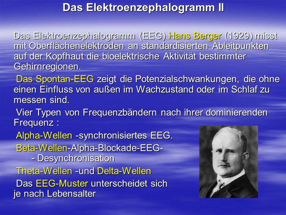 Das Elektroenzephalogramm II Das Elektroenzephalogramm (EEG) Hans Berger (1929) misst mit Oberflächenelektroden an standardisierten Ableitpunkten auf