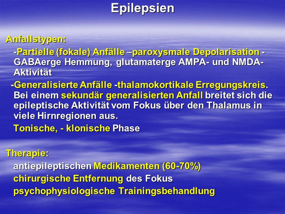 Epilepsien Anfallstypen: Anfallstypen: -Partielle (fokale) Anfälle –paroxysmale Depolarisation - GABAerge Hemmung, glutamaterge AMPA- und NMDA- Aktivi