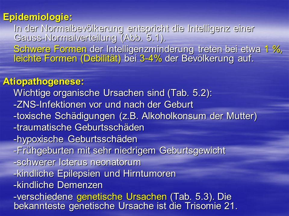 Epidemiologie: In der Normalbevölkerung entspricht die Intelligenz einer Gauss-Normalverteilung (Abb. 5.1). In der Normalbevölkerung entspricht die In